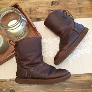 UGG Mariana Lace Up Leather Boots 8